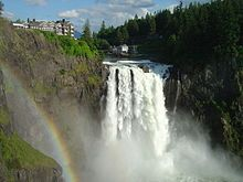 Snoqualmie Falls is a 268 ft (82 m) waterfall on the Snoqualmie River between Snoqualmie and Fall City, Washington, USA. It is one of Washington's most popular scenic attractions, but is perhaps best known internationally for its appearance in the cult television series Twin Peaks. More than 1.5 million visitors come to the Falls every year, where there is a two acre (8,000 m²) park, an observation deck, and a gift shop.