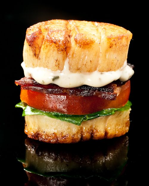 Scallop BLT Bite ~ party food Scallop BLT