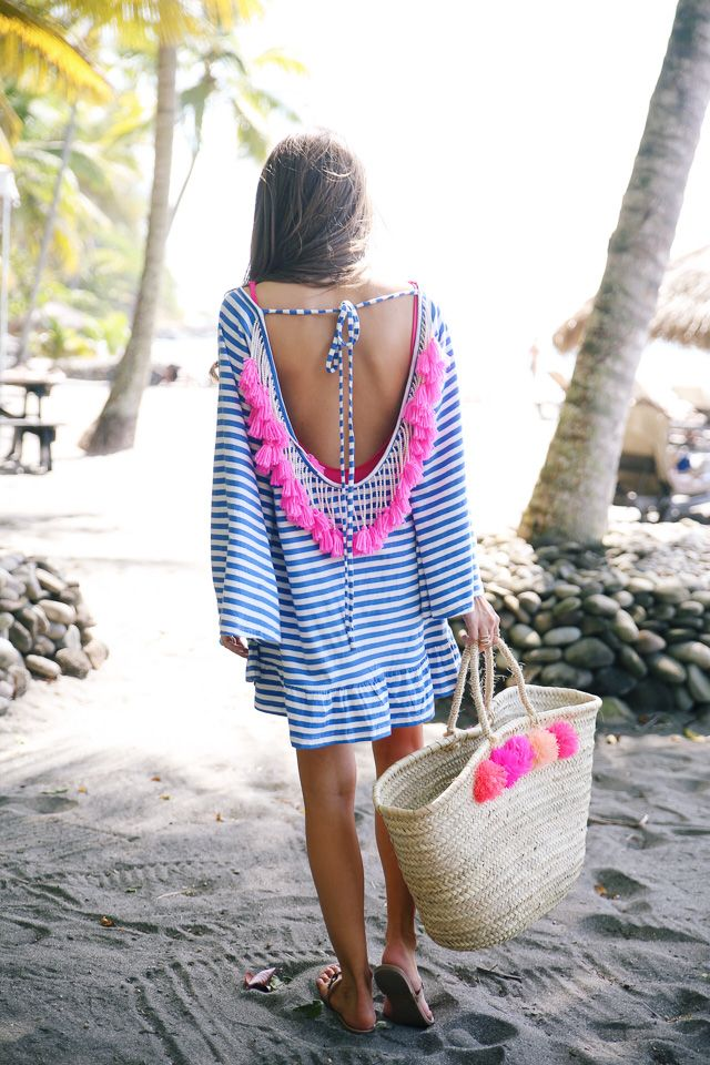 striped tassel cover-up - love the pom pom beach bag too!