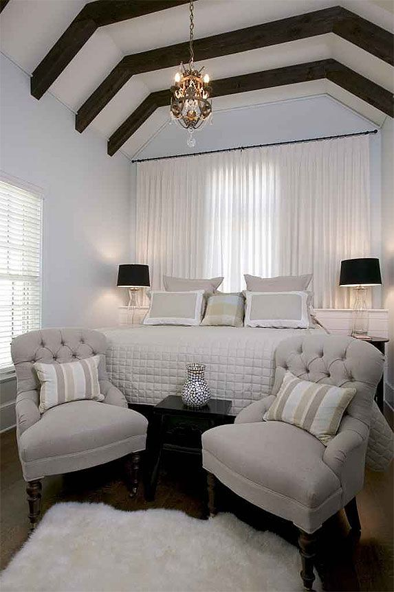 love the beams and relaxing color palette: Comfy Chair, Color Palettes, Upstairs Bedroom, Gray Colors, Color Pallets, Colors Palettes, Relaxing Colors