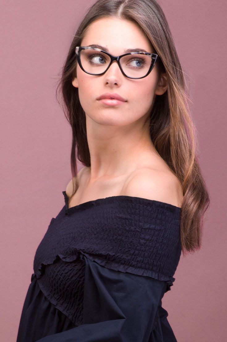 Dolled up Ebony Granite. Our bestselling cat eye frame. Classic with an edge.
