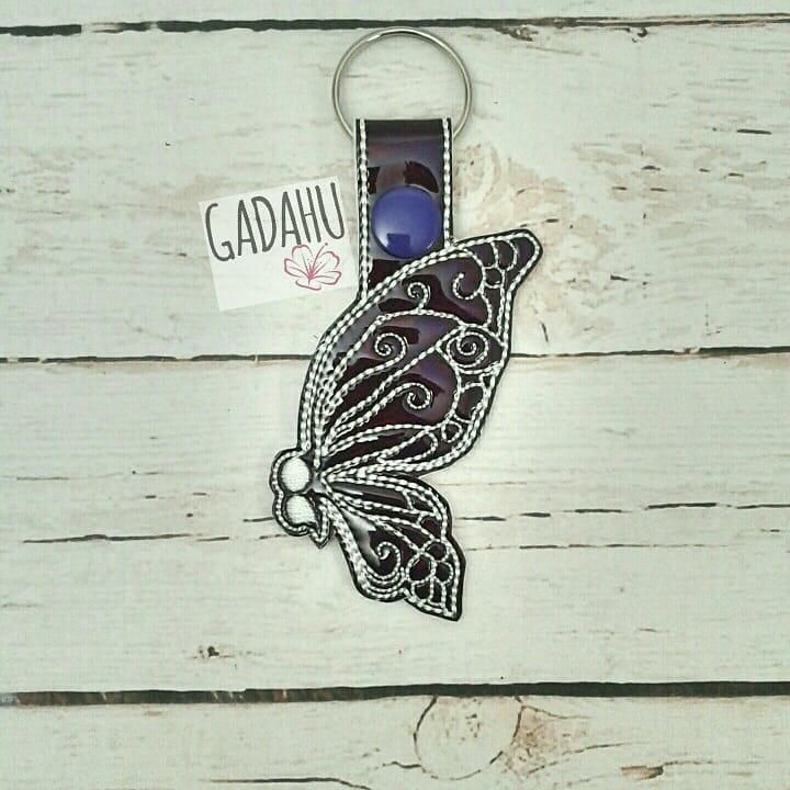 Semicolon Butterfly Snap tab Key Fob ITH Embroidery Design file