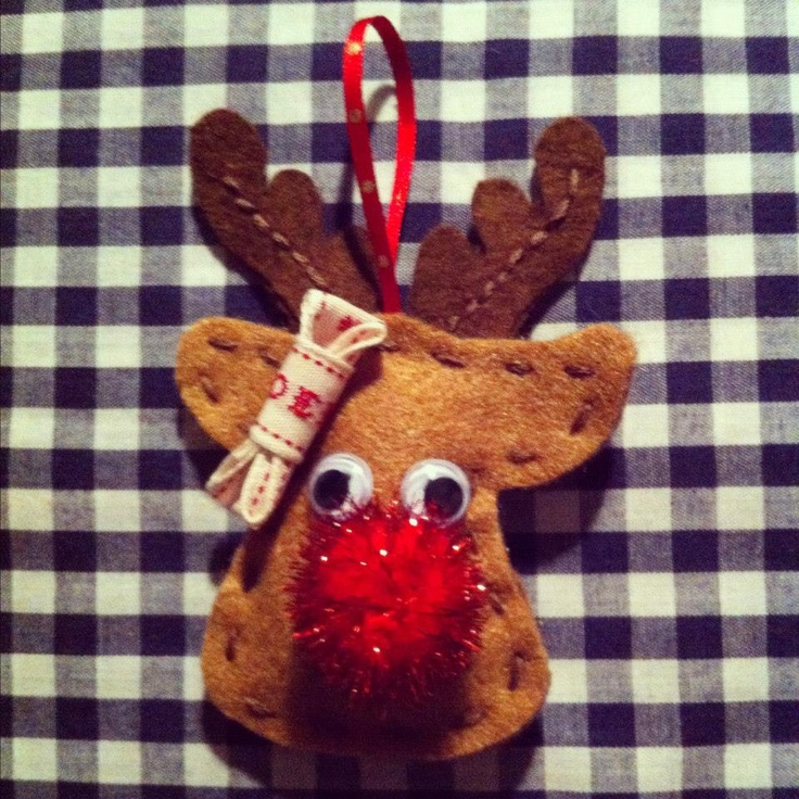 Home made sparkly reindeer decoration for your Christmas Tree. Visit http://www.facebook.com/KittyAndTiz to find out how to buy