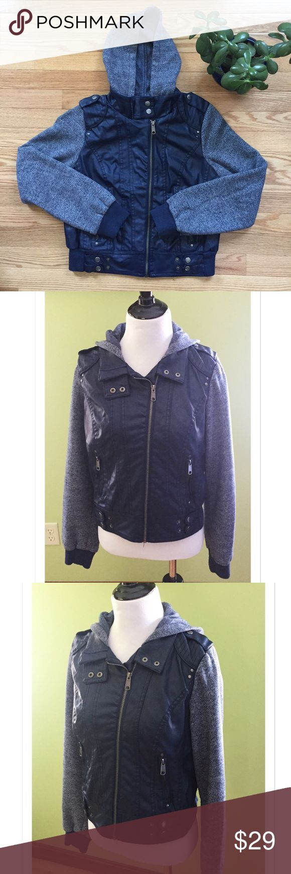 "New Look Vegan Leather Hooded Moto Jacket Beautiful Navy Moto Jacket in Vegan Leather with contrast sleeves by New Look. Measures 18"" across the bust; 21"" Length. EUC New Look Jackets & Coats Utility Jackets"