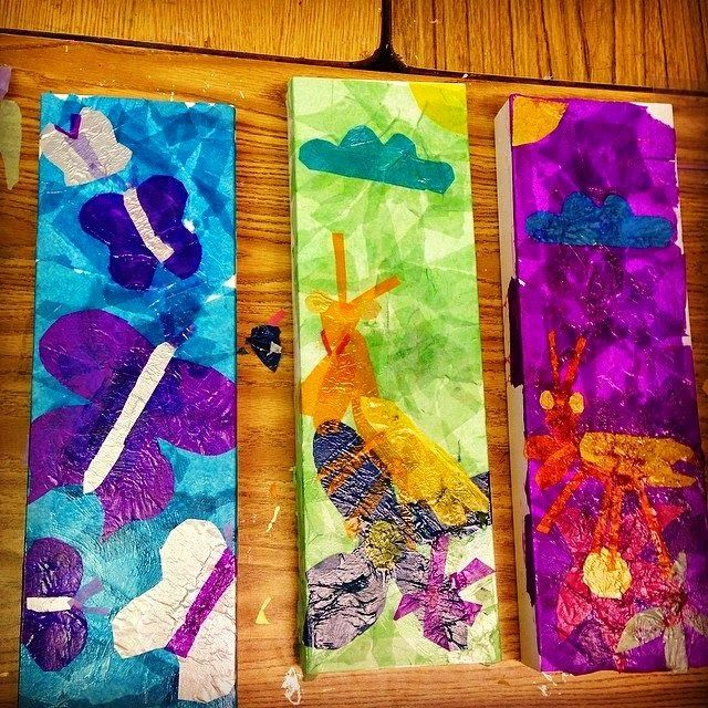 Tissue Paper Collage Boxes - ART PROJECTS FOR KIDS