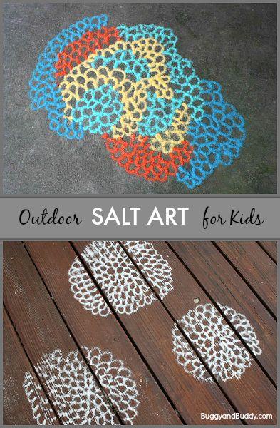 Kids create their own art outside using colored salt !