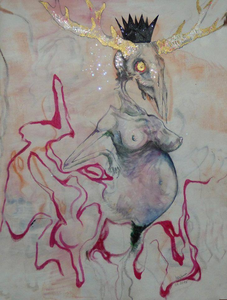 Čůza Malba na plátně kombinovanou technikou - olejový pastel, akryl, laky na nehty, tužka. Barvy jsou oproti fotografii o něco světlejší. Rozměry cca 50x40. Obraz je bez rámu.