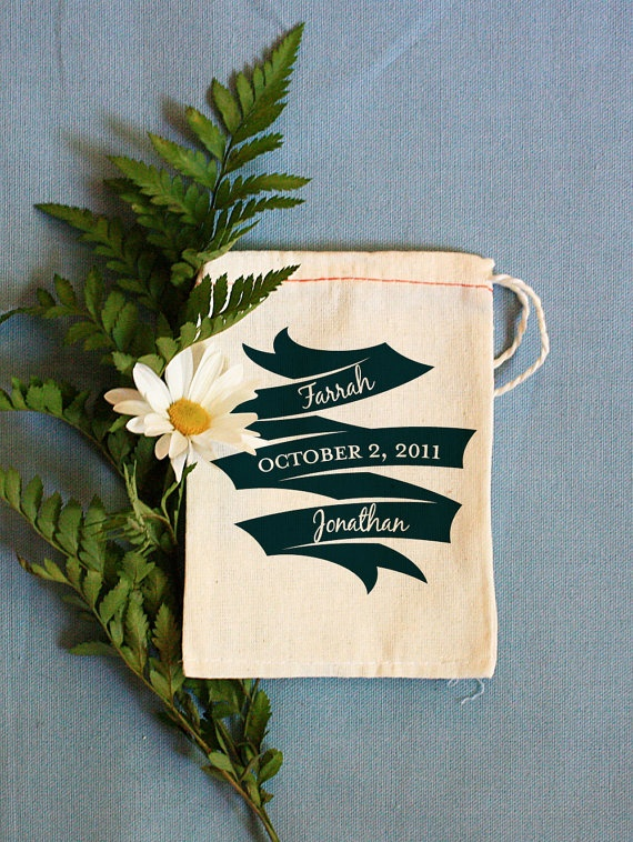 $3.50 Personalized muslin gift bags by Benign Objects.