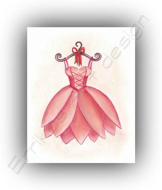 Girls room decor Ballet Fairy Dress Red Girl Nursery decor
