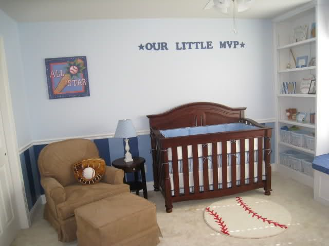 Blue Striped Baseball Themed Nursery Lots Of Cute Ideas