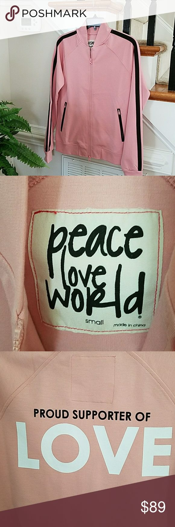 "Peace Love World MIA Jacket Love this Jacket! Wearing mine now!  Polyester Rayon Spandex   Peace Love World MIA Jacket in Rose Pink with black accented front zipper pockets  Back stripes from shoulders to cuffs  Tab collar  Zipper closure  Word embellishment on the back of Jacket  ""PROUD supporter of LOVE"" Peace Love World Jackets & Coats Utility Jackets"
