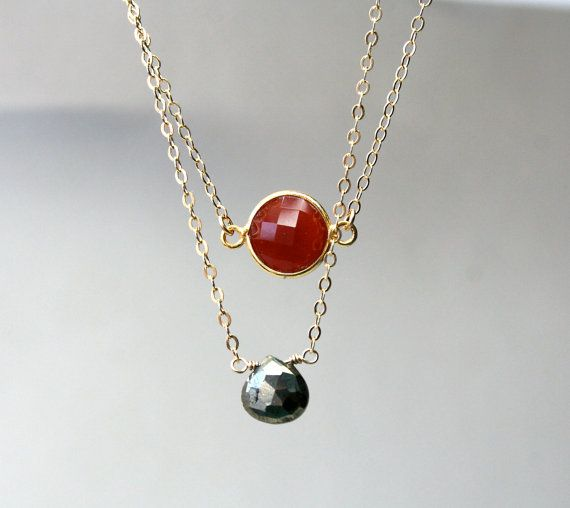 Pyrite Necklace 14K Gold Filled Chain with Faceted by StudioGoods