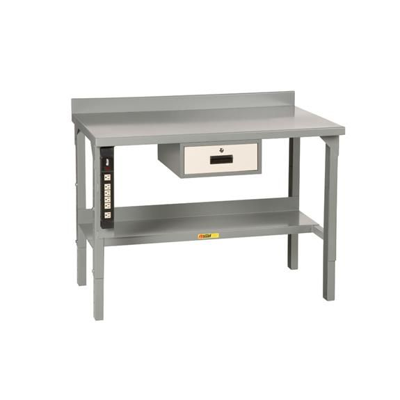 little giant welded steel workbench adjustable height with backstop