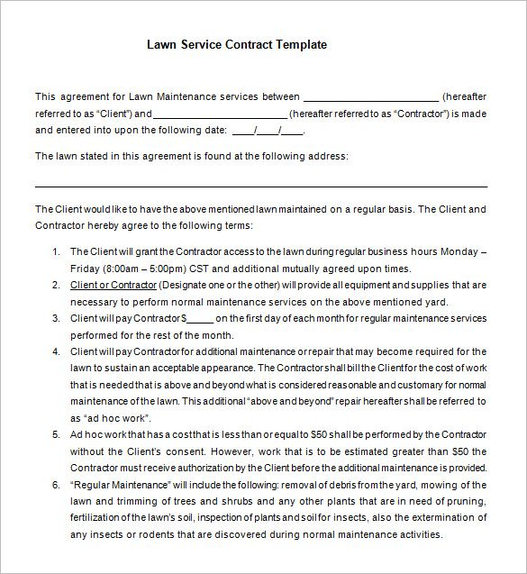 7+ Lawn Service Contract Templates – Free Word, PDF Documents Download | Free & Premium Templates