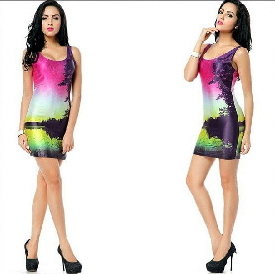 Free Shipping New 2014 Elegant Lady Scenery Print Elastic Bodycon Tank Dress Low-cut Bandage One-piece Hip Package Skirt #364 $18.78