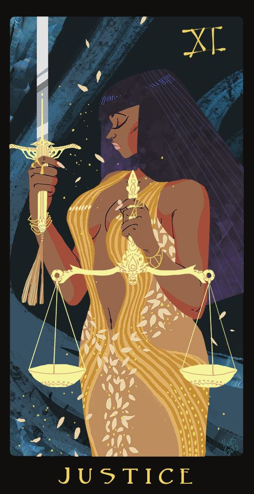 "Justice Tarot Card - ""Justice"" by Yves @_martiniboy http://alk0n0st.tumblr.com/"
