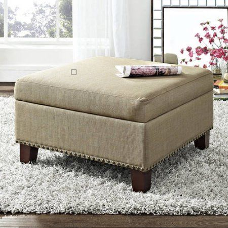 $120  28x28x16  Better Homes and Gardens Grayson Linen Square Ottoman with Nailheads, Multiple Colors