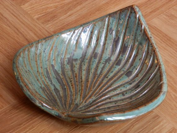 Stoneware Clay Spoon Rest or Soap Dish Handcarved by LisaMelitaArt, $10.00