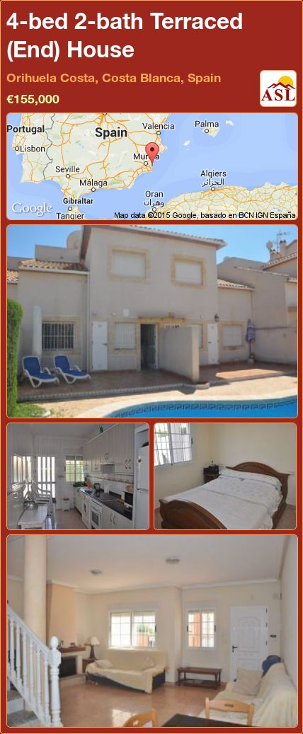 4-bed 2-bath Terraced (End) House in Orihuela Costa, Costa Blanca, Spain ►€155,000 #PropertyForSaleInSpain