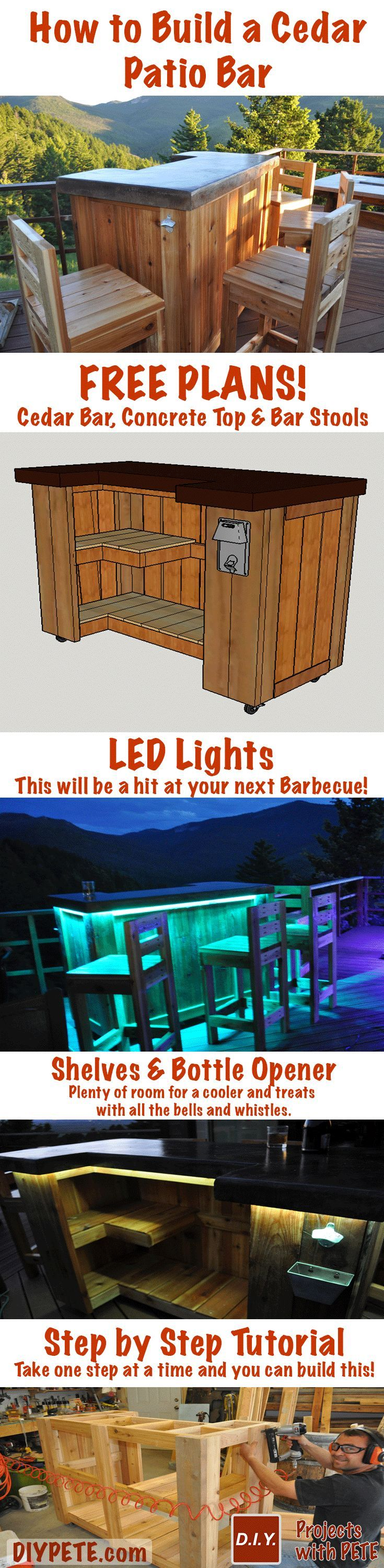 Learn how to build a Patio Bar! Free Plans, Video Tutorial, and Inspiration :) This will be a hit at your next barbecue! Cheers - DIY PETE #woodworking