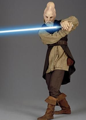 Master Ki-Adi Mundi. He is a Jedi but has several wives and children. It comes out that he is one of the last males of his kind, so he is allowed. :)