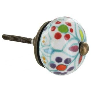 """Enhance dresser drawers, cabinets, doors and more with this colorful Hand Painted Pastel Flower Ceramic Knob.    Measurements:      1 1/2"""" Wide Knob    1 1/4"""" Knob Projection (approximate distance knob will extend from drawer or cabinet door)    1 1/4"""" Long Screw"""