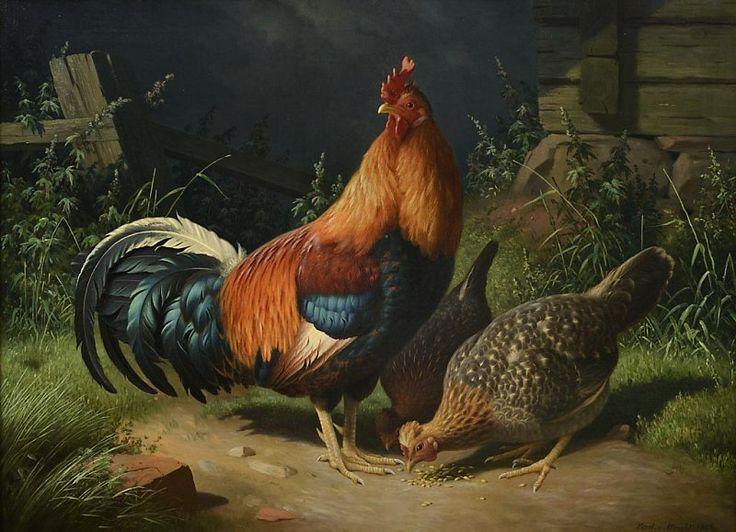 Ferdinand von Wright (Finnish, 1822-1906) - Rooster and Hens, 1871