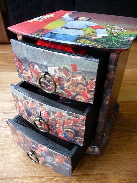 Decoupage box with Chinese propaganda photos by English Girl at Home, via Flickr