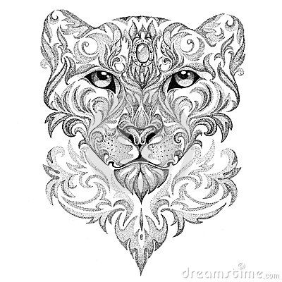 Tattoo Snow Leopard, Panther, Cat, With Patterns And Ornaments - Download From Over 40 Million High Quality Stock Photos, Images, Vectors. Sign up for FREE today. Image: 51612783