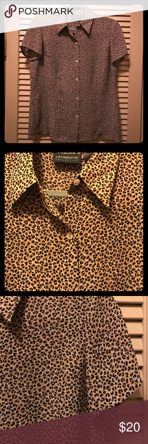 Animal print short sleeved sheer tailored blouse Reposhed item as I misunderstood sizing. Wonderful little blouse with tiny and classic looking animal print. Lovely flow would look great with black or neutral tone cami beneath it. Liz Claiborne Tops Blouses