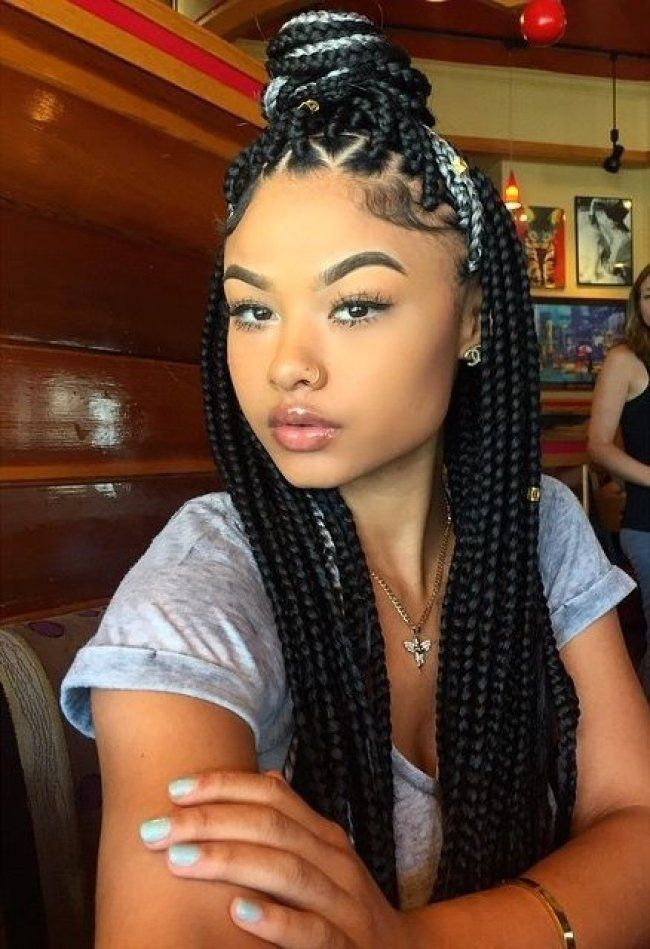 Black Braided Hairstyles On Pinterest African American Braids Black Plaited Hairstyles Black Plait Braids For Black Hair Natural Hair Styles Braided Hairstyles