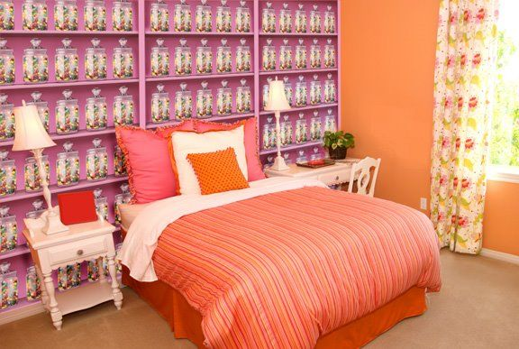 We created a custom mural design with a candy store theme for this lucky young lady's bedroom. What candy would you like on your wallpaper?
