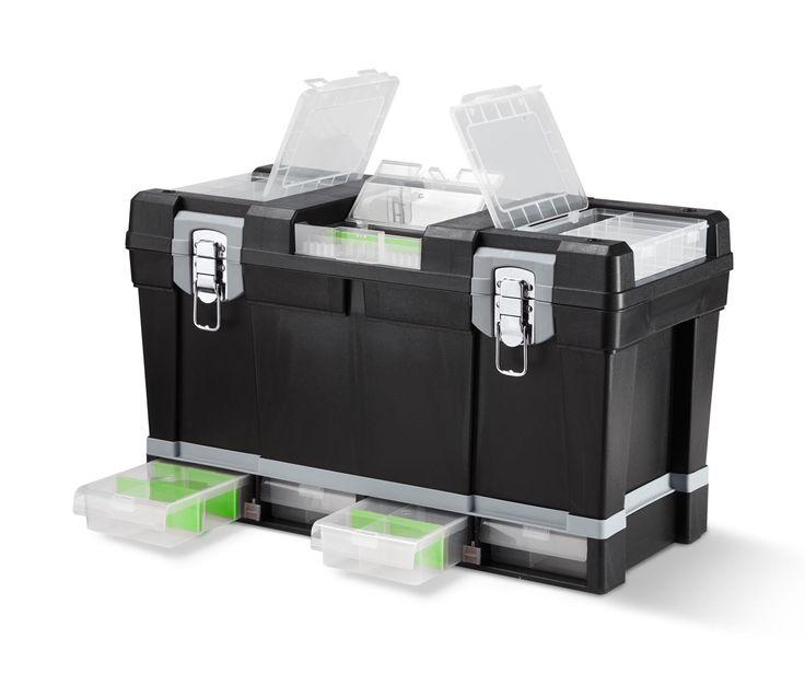11995 Ft Szerszámosláda a tökéletes rendért és áttekinthetőségért  Ebben az erős műanyagból készült tágas szerszámosládában rendezetten és könnyen hozzáférhetően tárolhatók a csavarok, szögek, bithegyek, alátétek és egyéb kézműveskedéshez és barkácsoláshoz szükség