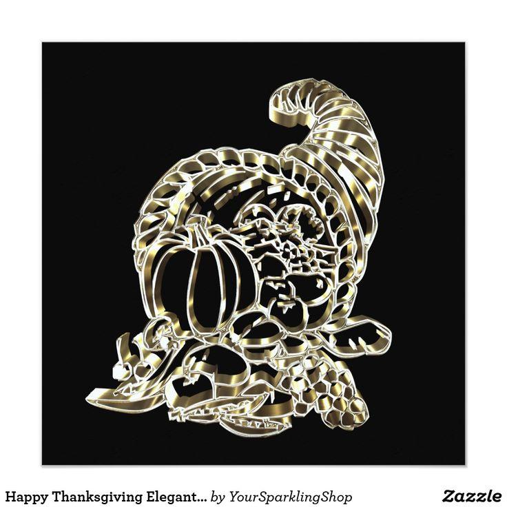 Happy Thanksgiving Elegant Golden Cornucopia