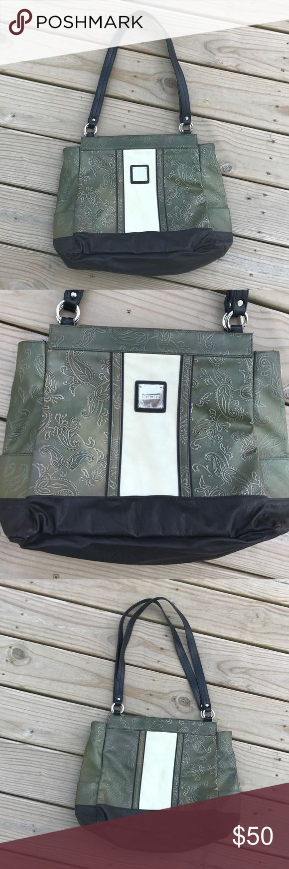 Genuine Miche Bag Purse -Must See Black base with removable shell. The plastic wrap cover has never been removed from the Miche logo tag. Shell has a very trendy look in moss green, ivory and brown. Check out the detail!  Inside is clean but has a pen mark or two as shown in the photo. Smoke free. Miche Bags
