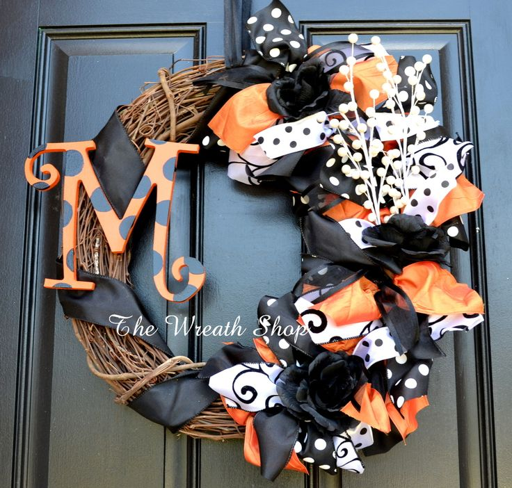 Halloween Monogram Grapevine and Ribbon Wreath - Orange, Black, and White Ribbons on Grapevine