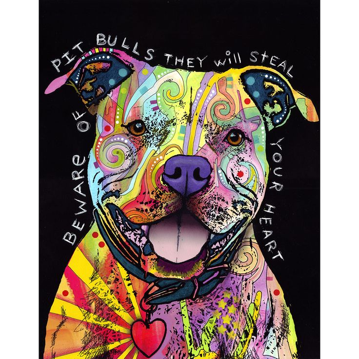 Beware of Pit Bulls Wall Sticker Decal - Animal Pop Art by Dean Russo