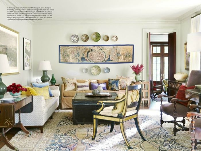 A 19th Century Tabriz Designer Rug In A Living Room Designed By Mona Hajju2026