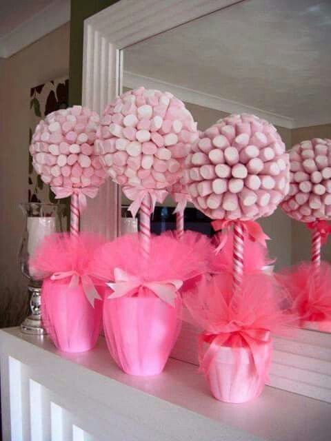Pink Marshmallow Centerpiece or favor if made smaller. Unknown source; please add if found