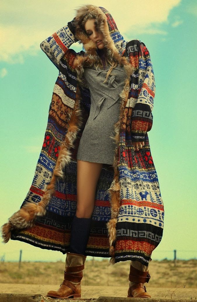 Old Fashion Long Coat With Multi Design With Stylish Dress --- something about this jacket just makes me swoon! WANT WANT WANT!!!!