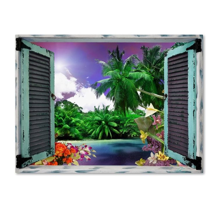 'Tropical Window to Paradise I' Graphic Art Print on Wrapped Canvas