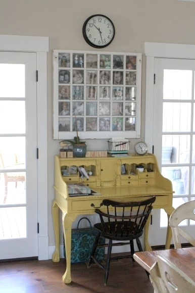 """desk painted """"french pale gold"""" by behr (home depot)"""