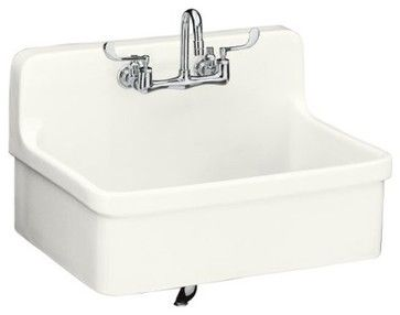 "KOHLER K-12700-0 Gilford Apron-Front, Wall-Mount Kitchen Sink, 30"" x 22"" contemporary-kitchen-sinks"