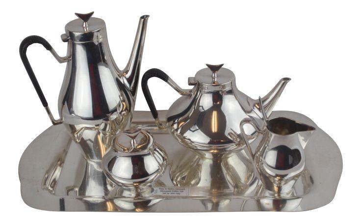 John Prip for Reed & Barton Denmark Modernist Coffee Tea Set on Chairish.com #reedandbarton #johnprip #MCM