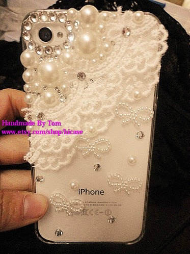 Bling pearl lace iphone 5 case iphone 4 case iphone 4s by hicase, $18.00