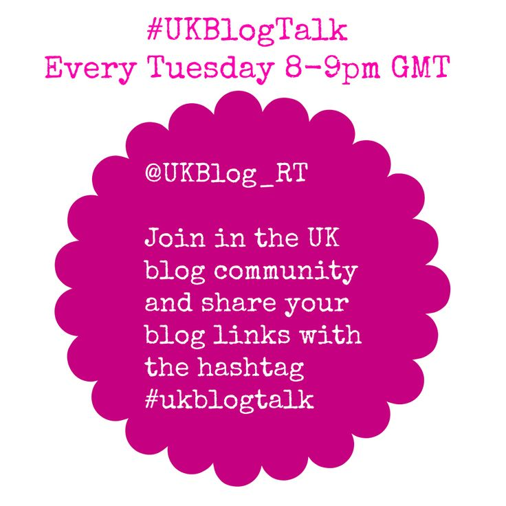 Join in Twitter #blogchat 's #blogtalk 's and share your blogging links. There are so many blog chat's for everyday of the week, check them out on twitter and join in the blogging community and share your blog links.  https://twitter.com/UKBlog_RT