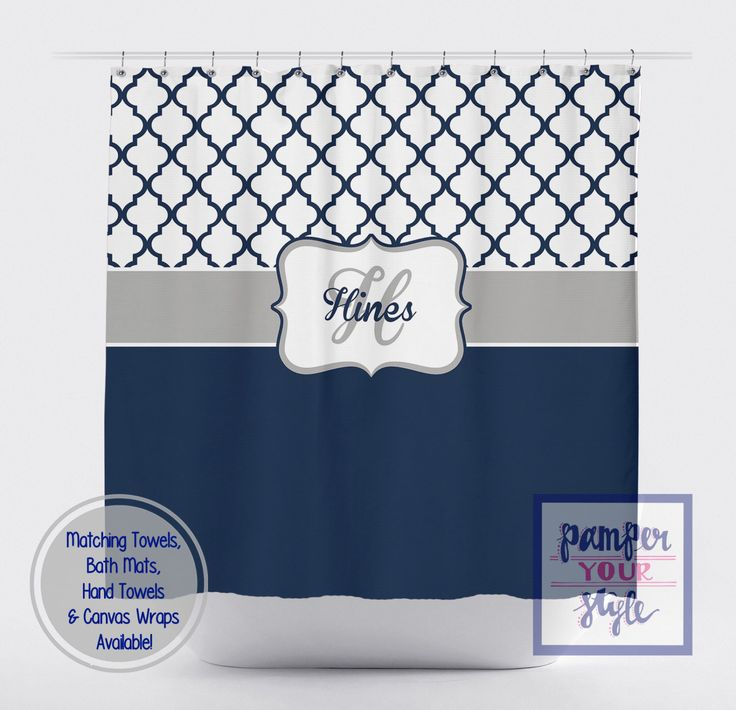 Moroccan Navy Blue and White Shower Curtain   Navy Blue Personalized Shower  Curtain   Ornamental Monogrammed Shower CurtainTop 25  best Navy blue shower curtain ideas on Pinterest  . Navy Blue And White Shower Curtain. Home Design Ideas