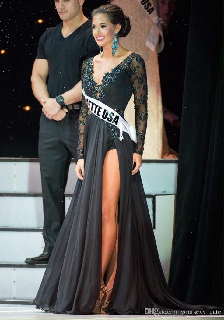 2015 New Black Long Sleeve Pageant Dresses Sexy Deep V Neck Lace Applique Beads Side Slit Sweep Train Chiffon Formal Evening Gowns