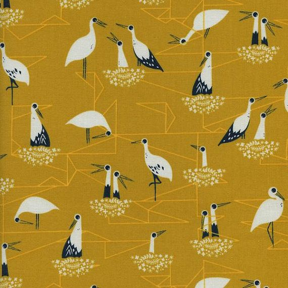 Inspired by Sarah's trip to Portugal, featuring some mummy, daddy and baby storks, with a discreet geometric background.  Manufacturer – Cotton + Steel Collection – From Porto With Love Designer – Sarah Watts Weight - 100% cotton  Sold by the fat quarter measuring approximately 50 x 56cm  Please enter 4 in the quality drop down box if you wish to order 1 meter   Width approximately 112cm