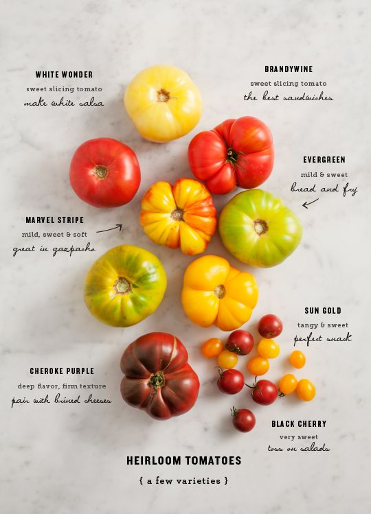 heirloom tomatoes - a visual chart. There are many more varieties, but this is a good start...
